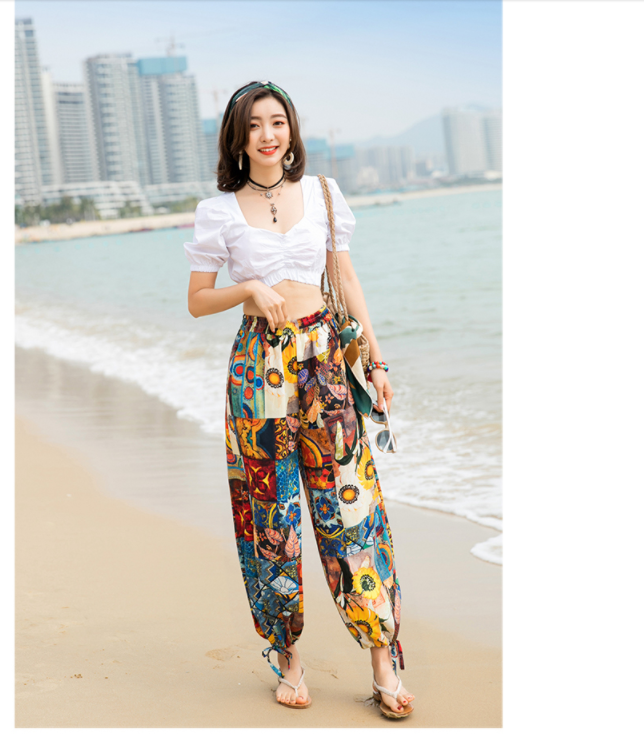 Wide leg Pants New 2020 Summer Beach Pants Female Loose Print Bohemian Women's Pants Female Elastic waist wide leg pants 166J