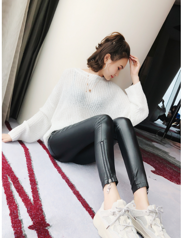 Brand New Women Fashion PU Leather Trousers Lace-up High Waist Skinny Pencil Pants Zipper Cuff Faux Leather female pants 904F