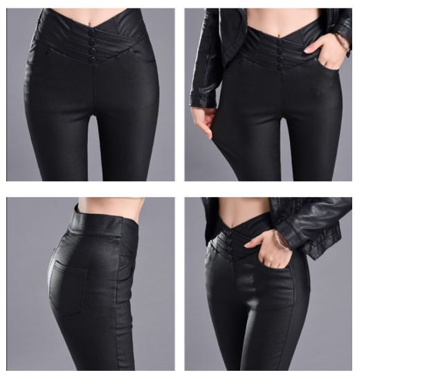 Women PU Leather Pants High Waist Elastic skinny Trousers Sexy Slim Female Pencil Leather Winter Pants New Plus velvet 182J