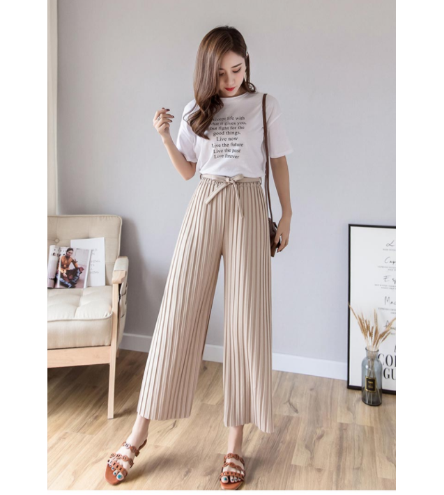 stripe Spring Summer 2020 New Women's Pants Pleated Wide leg Pants Vintage Loose ninth pants Casual High Waist Trousers 80i