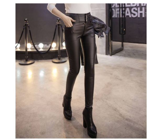 Skinny Warm Women Pants Drop shipping Female PU Leather Velvet Trousers Elastic Pencil Skinny pants Women's Tight pants 812E