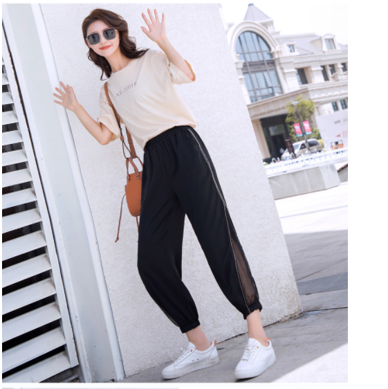 Women Splice Mesh Harem pants Trousers Casual Vintage High Waist Chiffon Side Split Loose Bohemia Skirt Pants Capris Solid 870E