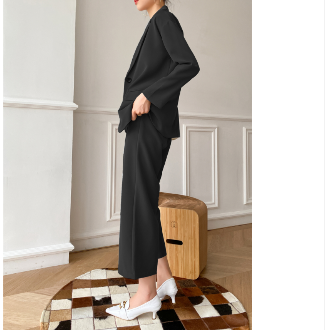 Women Set High Quality Fashion Office Style suit Collar Small Suit Female Autumn Loose Ladies Two-Piece Suit Coat And Pants 216C