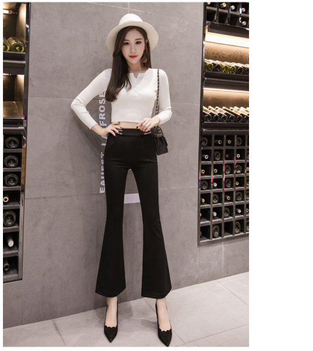 Elasticity Flare Pants 2020 New Spring Summer Leggings Female Micro Bell-bottom Pants Black High Waist Stretch Casual Pants 901C