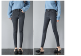 Winter  plus size jeans Fashion Leggings Blue Woman Mid Waist Women mid Elastic Spring Length Pants Skinny pencil Jeans 400D