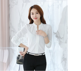 New office 2020 Long sleeve chiffon women blouses shirt wing collar causal women tops solid white fashion women shirts 881B3