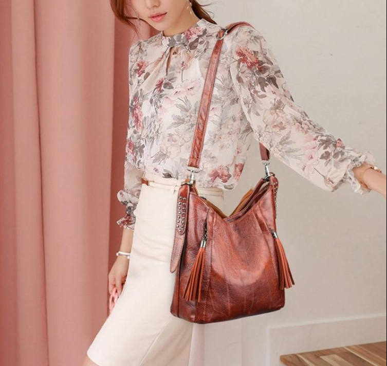 Big Women Bucket Bag Female Shoulder Bags Large Capacity Vintage Soft Patchwork PU Leather Lady Crossbody Handbag for Women Tote