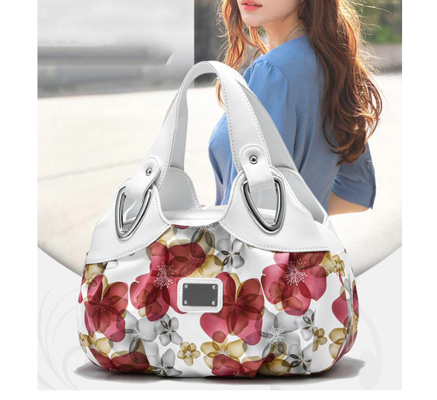 Luxury Flower Design Top-handle Ladies Handbag Women Shoulder Bags PU Leather Messenger Purse Bag Female Tote sac a main