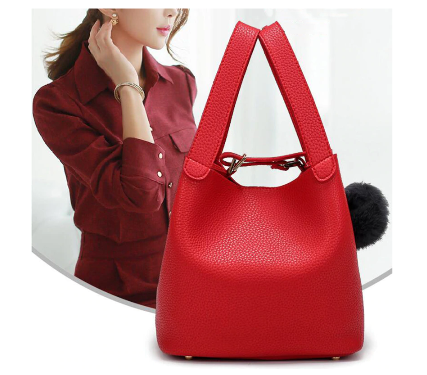 Fashion PU Leather Ladies Handbags Larger Women's Bag Hair Ball Shoulder Bag Messenger Crossbody Bag for Women