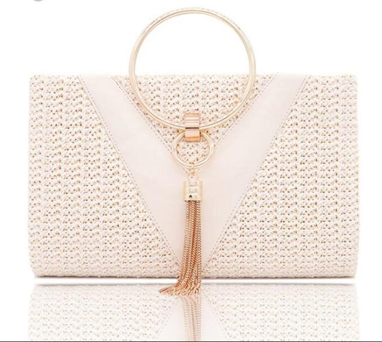 Fashion Lady Women Summer Simple Handbag For Money Metal Handle Tassel Design Shoulder Bag sac a main  Chain Crossbody Purse
