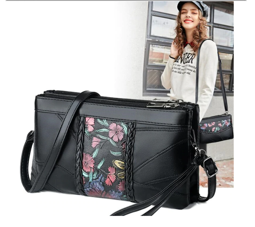 Soft PU Leather Messenger Bags for Women Pouch Bag Mother Lady Flower Prints Retro Designer Single Shoulder Purse Sling Bag