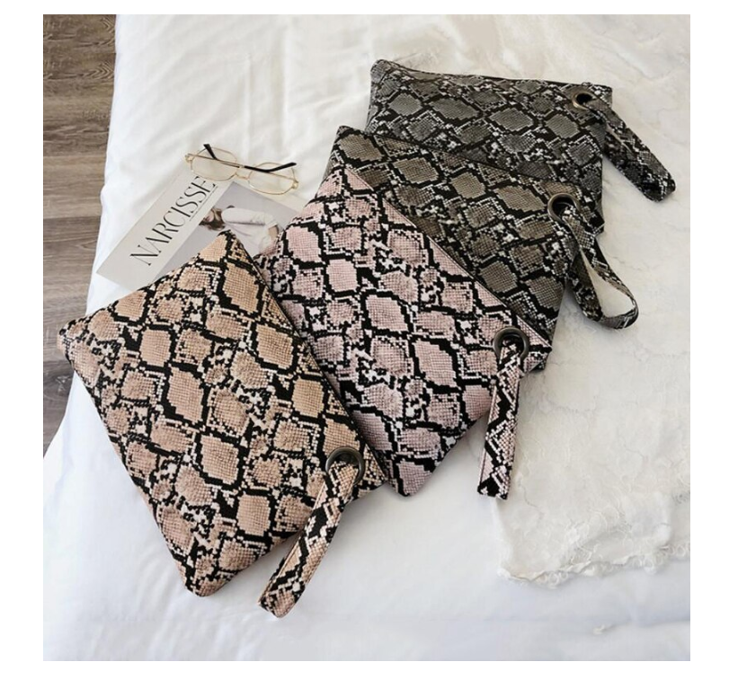 Snake Print Wristlet Clutch Women Daily Sac Bags Purse Soft PU Leather Money Phone Pouch Casual Bags 2020 Hot Selling