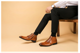 Men winter Boots Genuine cow leather chelsea boots brogue casual ankle flat shoes Comfortable quality lace up dress boots 2020
