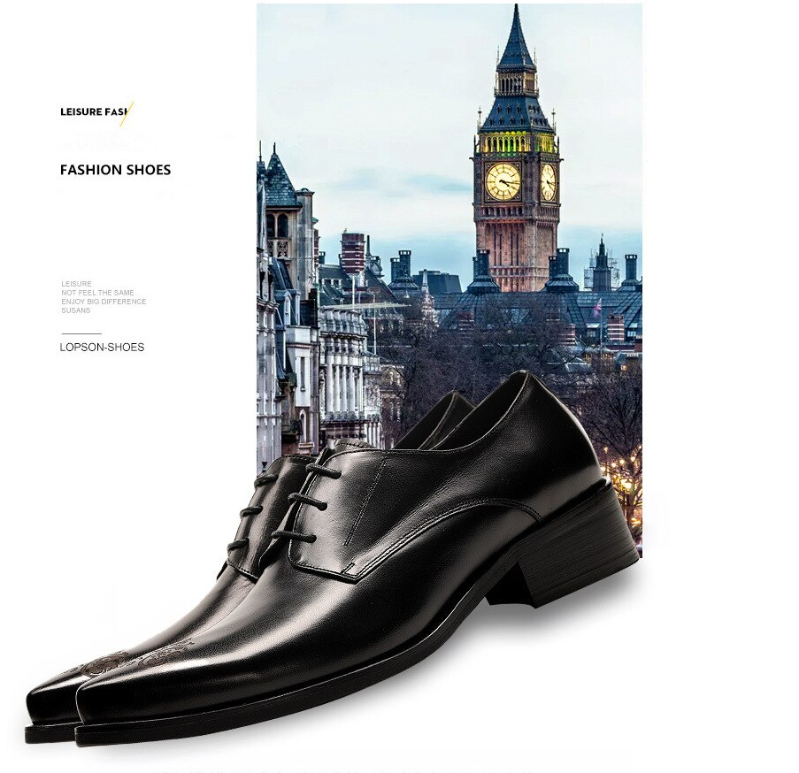 Men leather shoes business dress suit shoes men Luxury brand Bullock genuine leather black laces wedding mens shoes 2020 spring