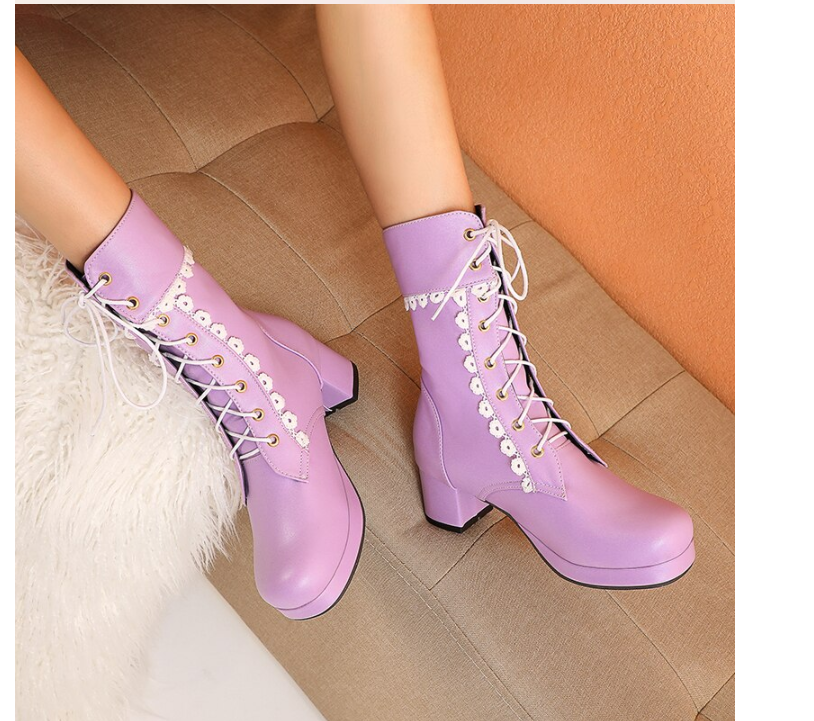 Fashion Ankle Boots Women Platform Winter Shoes Woman Lovely Sweet Purple Pink White Lolita Shoes Women Boots