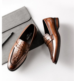 Men Crocodile Pattern Genuine Leather Penny Loafers Mens Pointed Toe Slip on Oxfords Dress Wedding Brown Casual Shoes