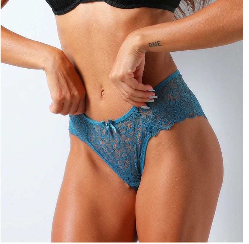 Fashion Sexy Panties Comfortable Briefs Exquisite Crotchless Shorts Solid Lace Lingerie Sexy Hollow Out Underwear Women