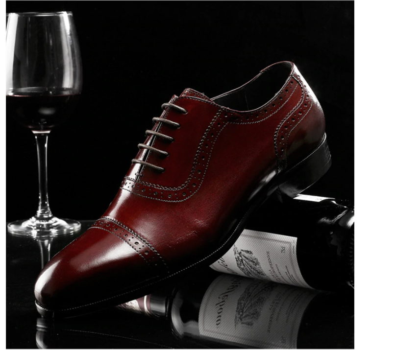 Men Genuine Leather Shoes Man  Business Dress Classic Style Coffee Black Lace Up Pointed Toe Shoes For Men Oxford Shoes