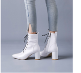 Winter Ankle Boots For Women Patent Leather Waterproof Short Boots Fashion Lace-up Red White Motorcycle Boot