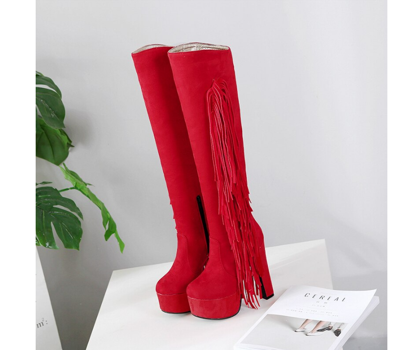 Flock Leather Women Knee High Boots Fashion Fringe High Heels Boots Lady Platform Party Evening Fetish Shoe