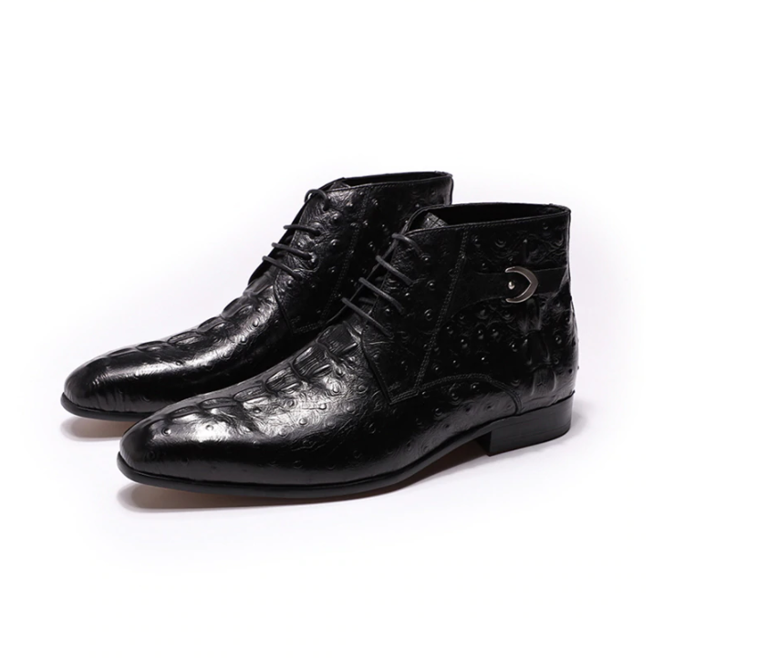 Men Genuine Leather Ankle Boots Crocodile Pattern Mens Lace Up Dress Shoes Black Brown Man Basic Short Boots
