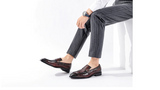 Men Genuine Leather Crocodile Embossed Pattern Loafers Pointed Toe Buckle Slip On Oxford Dress Brogues Platform Shoes