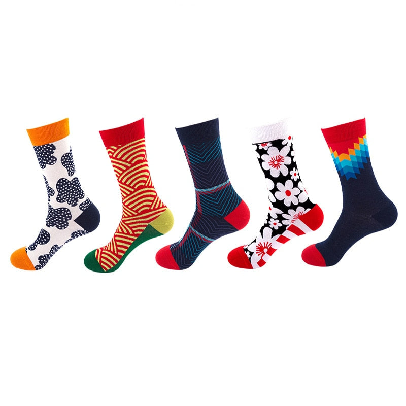 1Pair New Men Women Cotton Socks Casual Colorful Socks Crew Socks Street Skateboard Socks Happy Funny Harajuku Sox Meias