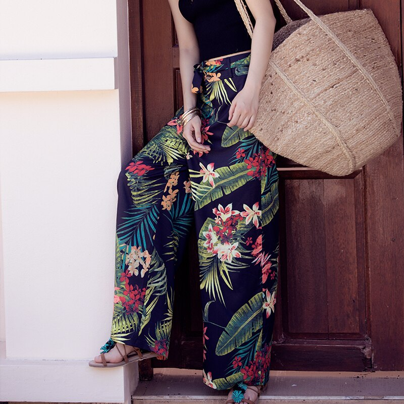 2020 Summer Holiday Bohemian Waist Belt Tropical Print Wide Leg Pants Slim All-match Slacks Cotton female Pants With Pockets A1J