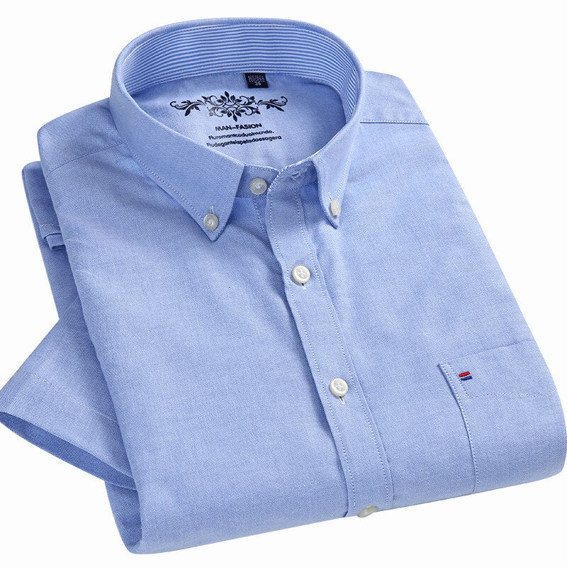 2020 Summer Short Sleeve Button Down Collar Comfortable Mens Business Casual Shirt Oxford Shirts 70% cotton Fabric Shirts
