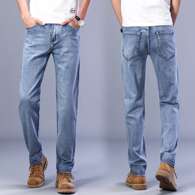2021 Autumn Men Stretch  Jeans Fashion Casual Slim Fit Denim Trousers Male Blue Pants Male Brand