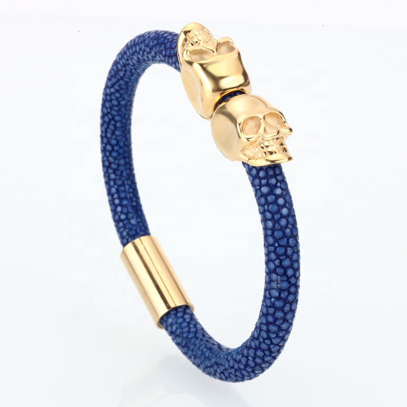 Python Leather Steel Bracelet- Royal Anvil