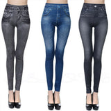 Activewear High Waist Fitness Leggings Women Pants Fashion Patchwork Workout Legging Stretch Slim Pocket Printing Denim