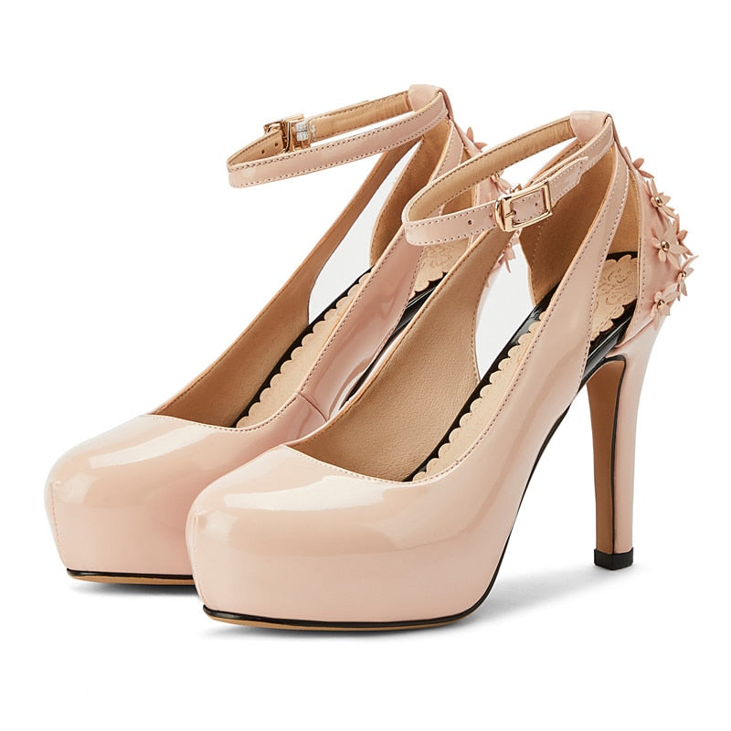 Ankle Straps Heeled Shoes Woman Sweet Flower Pumps Women Shoes Elegant Round Toe Platform