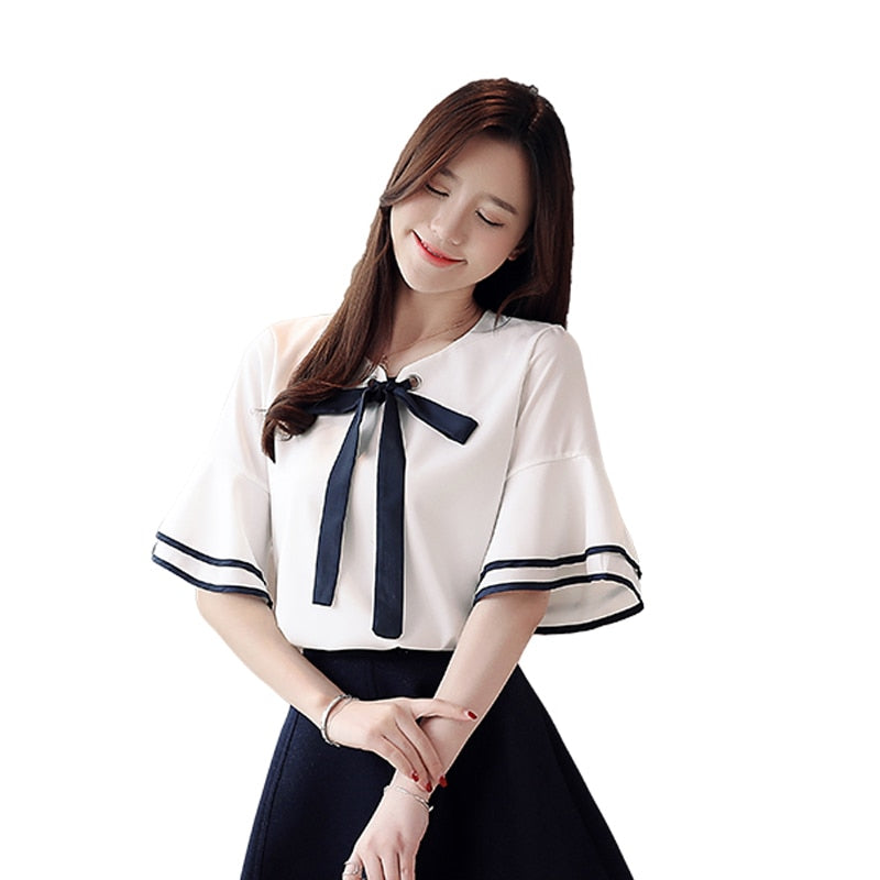 Blouses Shirts Bow Round Neck 2020 New Shorts Sleeve Shirt Casual Feminine Irregular Camisas Mujer Spring Women Shirts Tops 80A