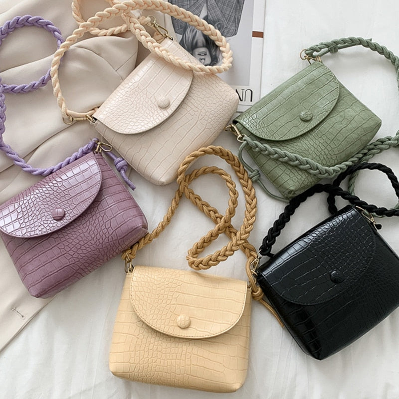 Braided shoulder strap Design PU Leather Mini Shoulder Bags For Women 2020 Crossbody Bags Lady Luxury Alligator Mini Handbags