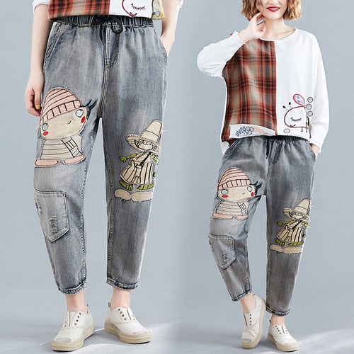 Cartoon Korean distressed Jeans Plus Size Loose Jeans Casual Cartoon Applique with Holes Straight-Leg Trousers clothing 705G