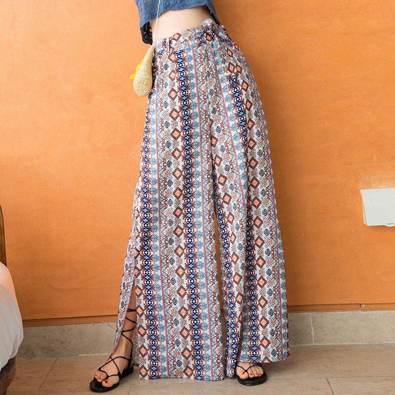 Casual Bohemia Trousers Ethnic Wide Leg Pants Drape Tourism Holiday Beach Pants Summer Loose Trousers Women Korean Pants 161F