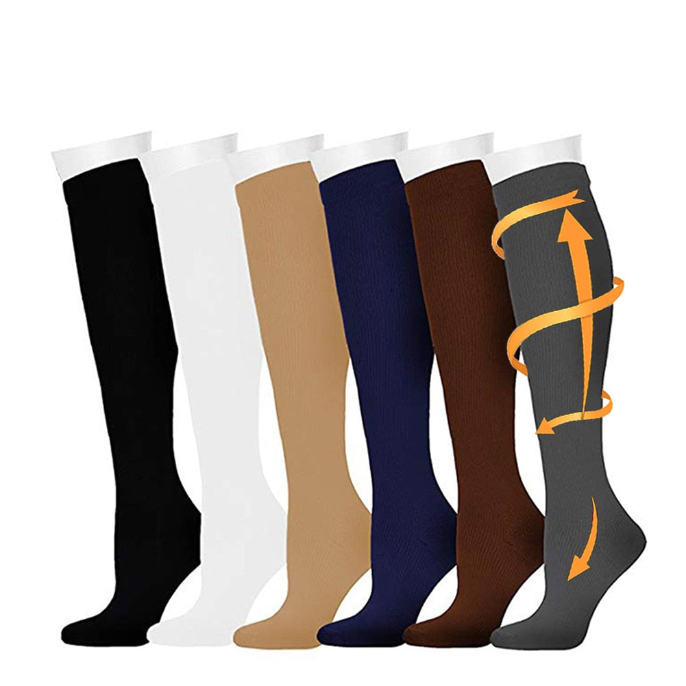 Compression Sock Travel Relief Pain Pregnancy For Running Flight Fitness Sports Varicose High Stockings Outdoor Anti Fatigue for Men & Women