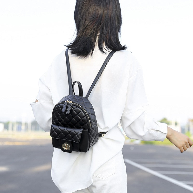 Fashion Black PU Leather Backpack Female Plaid Backpacks for Adolescent Girls Women Spliced Casual Small School Bag