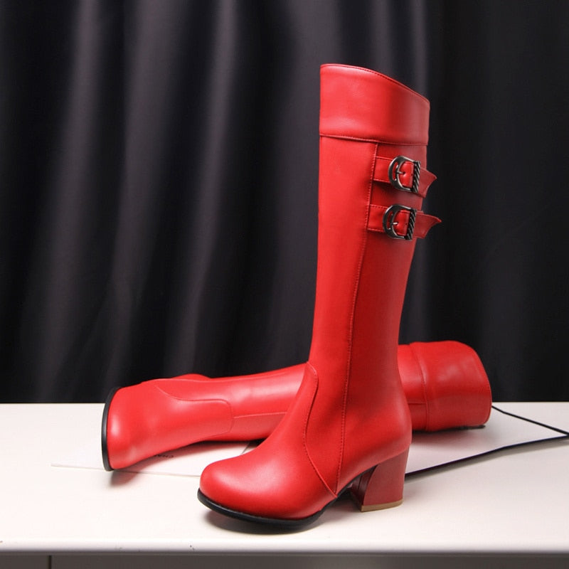 Fashion Knee High Boots Women Fashion Buckle High Heels Snow Boots Warm Fur Plush Winter Boots Shoes