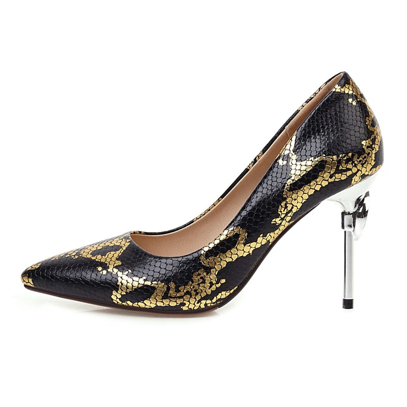 Fashion Snake Print,High Heels Shoes Women Quality Pointed Toe Women's Pumps Shoes Luxury Heeled Shoes