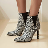 Fashion Snake Print Women's Ankle Boots New 2020 Sexy Pointed Toe Thin High Heels Ankle Boots For Women Shoes Large Size 34- 45