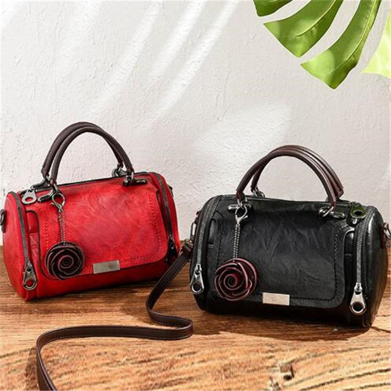 Fashion 2020 Women Shoulder Bag with Flower Pendant Ladies Totes Party Purse Boston Handbag Casual Female Messenger Crossbody Bags