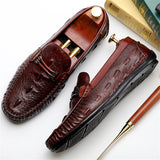 Genuine cow leather brogue Crocodile Wedding shoes mens peas casual flats shoes vintage handmade oxford shoes for men black 2020