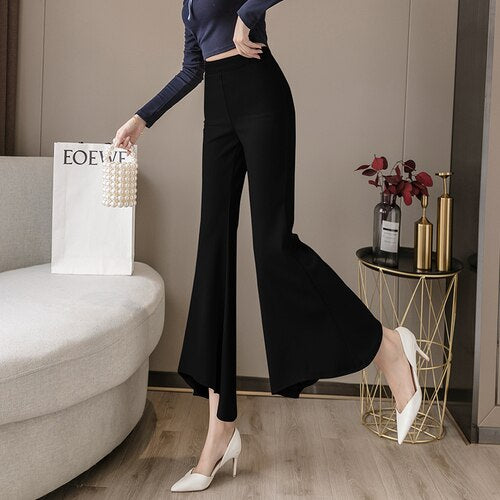 Harajuku Pants Clothing Women Solid Irregular Microprojectile Capri Flare Pants Office Fashion Beige Black Woman Pants 358A