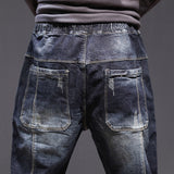 2020 Jeans Relaxed Tapered Jean Elastic Drawstring waist and Baggy Legs Joggers Jeans Man Casaul Denm Pants