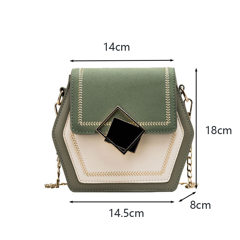 Hexagon Mulit Style PU Leather Handbag Women Summer Crossbody Bag Mini Chain Shoulder Bags Fashion Lock Designer Messenger Purse