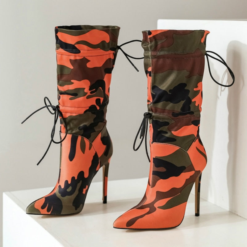 High Heels Mid-calf for Women Stilettos Fashion Camouflage Boots Woman Shoes 2020 Winter Lace Up Sexy Chic Night Club Boots