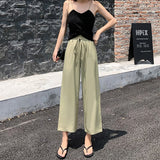High-Waisted Women's Pants Lace up Summer New 2020 Loose Straight Wide Leg Pants Casual Pants Wide Leg Thin Pants 654C