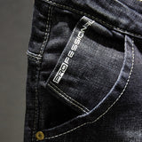 Men Jeans Dark Blue Stretch Slim Fit Distressed Streetwear Denim Pants Casual Retro Biker Jeans Man Trousers Hiphop